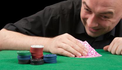 playing poker on black