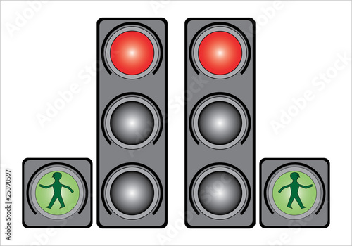 Traffic light in the city, vector