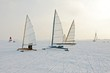 Ice sailing on a cold winter day in the Netherlands