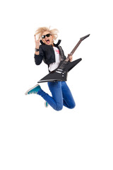 woman guitarist jumps