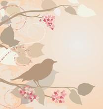 Nightingales in lila Zweige.