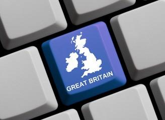 Großbritanien - Landkarte auf Tastatur