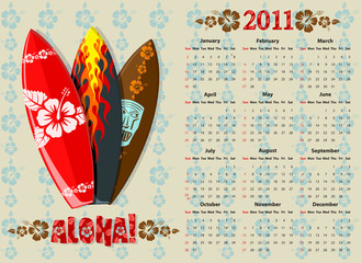 Vector Aloha calendar 2011 with surf boards