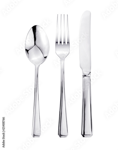 canvas print picture Knife, Fork and Spoon Cutlery Set