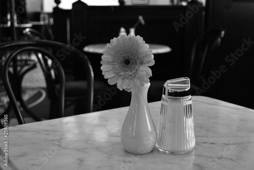 scene in coffeeshop in black and white