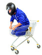 motorcycle man in shopping cart