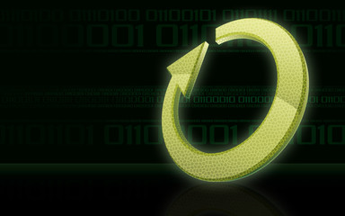 Green loop on binary code background