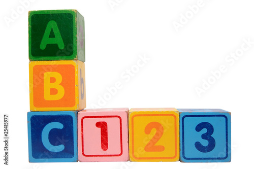 abc 123 in wood block letters with clipping path