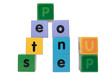 up one step in toy play block letters with clipping path
