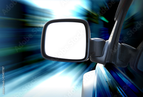 Rear View Car Mirror Driving with Speed