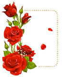 Fototapety Vector red rose and pearls frame