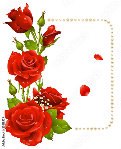 Vector red rose and pearls frame
