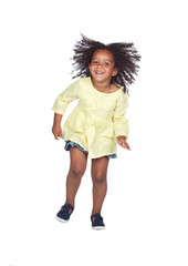 Adorable african little girl jumping with beautiful hairstyle