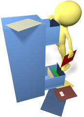Data man find files in 3D office filing cabinet