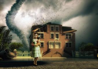 tornado and little girl