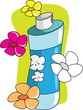 Illustration of perfume with flower design