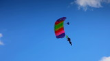 Fying on a parachute and alight on ground poster