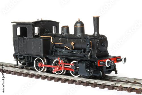 Vintage black model railway isolated on white background - 25427792