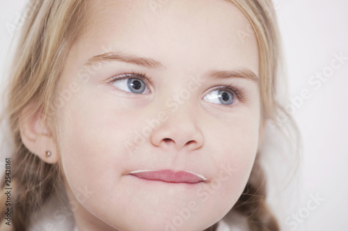 germany, cologne, gril (4-5) with milk mustache, portrait, close-up