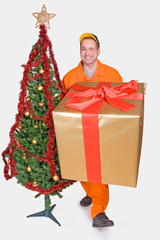 supplier with Christmas box and Christmas tree