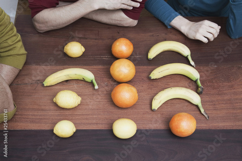 raw fruits on wooden floor.