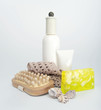 cosmetic set with wooden massager, handmade soap and seashells