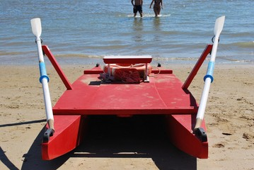 Typical red lifeboat, Rimini, Italy