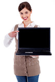 woman showing laptop