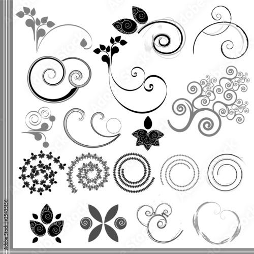 Foto op Plexiglas Spiraal spiralen und blätter-set
