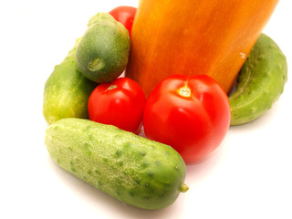 Tomatoes, vegetable marrow and cucumbers