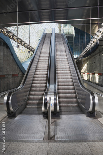 germany, bavaria, munich, empty escalator in subway station