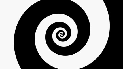 Spinning black and white hypnotic logarithmic spiral loop