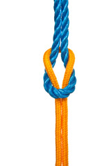 Reef Knot with Blue and Yellow Ropes