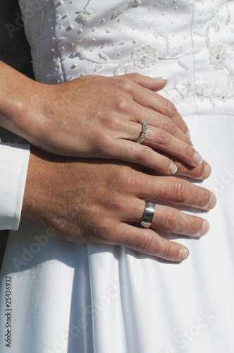 germany, bavaria, bride and groom hands with wedding rings, close-up