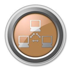 "Bronze 3D Style Button ""Network"""
