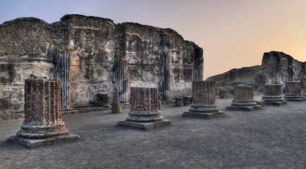 Pompeii Ruins At Sunset