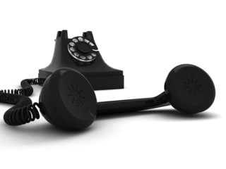 black telephone with headphone in front