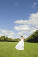 Deutschland, Bayern, Braut gehen im Park, Rückansicht