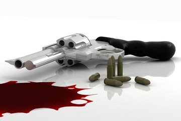 gun and bullets blood spill