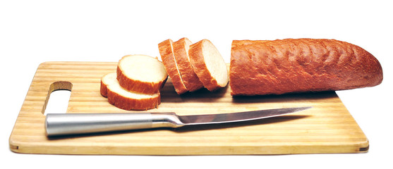 Baguette sliced with a knife
