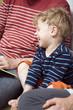 Deutschland, Eltern und Sohn Kleinkind Spaß, lachen, Portrait, close-up