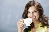 italy, south tyrol, woman holding a cup of coffee, outdoors, smiling, portrait, close-up