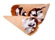 Three Icecream in waffle cup