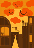 City vector background cartoon style in sunset, Autumn