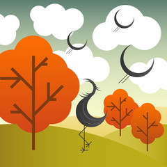 Vector autumn landscape with cranes birds and trees