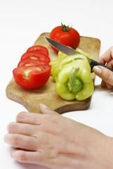 vegetables on wooden board
