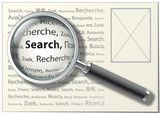 "Magnifying Glass. ""Search"" word on different languages. Vector."