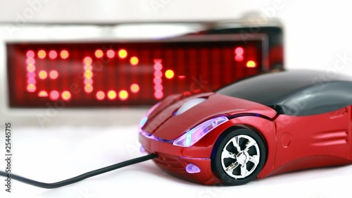 computer mouse in form of automobile and LED display