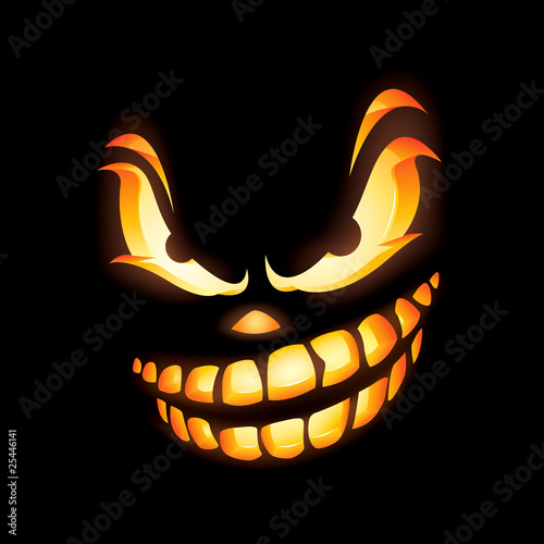 Scary Jack O Lantern with fierce expression.