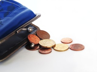 Cents coins in a purse